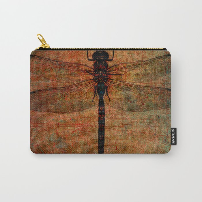 Dragonfly On Orange and Green Background Carry-All Pouch