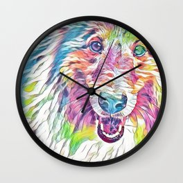 Collie in Rainbow Pastel Wall Clock