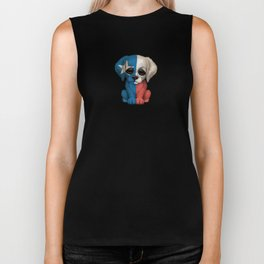 Cute Puppy Dog with flag of Texas Biker Tank