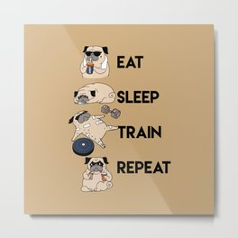 Eat Sleep Train Repeat Metal Print