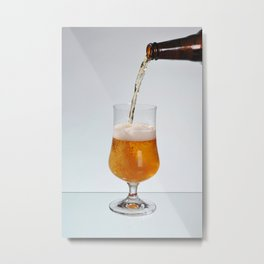 Fresh beer filling glass on stem Metal Print
