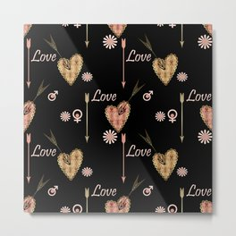 Seamless Valentines day pattern with patchwork textured hearts print background. Metal Print