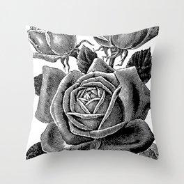 Engraved Rose Throw Pillow