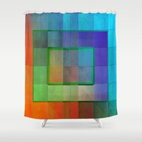 aperture Shower Curtains featuring Aperture #2 Fractal Pleat Texture Colorful Design by CAP Artwork & Design