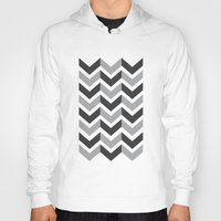 gray pattern Hoodies featuring Gray Chevron Pattern by magnez2