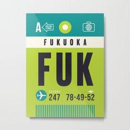 Baggage Tag A - FUK Fukuoka Japan Metal Print