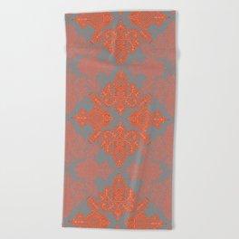 Burnt Orange, Coral & Grey doodle pattern Beach Towel