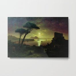 Moonlit Night over the Bay of Naples by Ivan Aivazovsky Metal Print