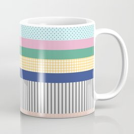 Stripes Mixed Print and Pattern with Color blocking Coffee Mug