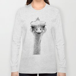 Black and White Ostrich Illustration Long Sleeve T-shirt