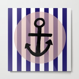 Nautical Anchor Blue White and Pink Metal Print