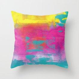 Neon Abstract Acrylic - Turquoise, Magenta & Yellow Throw Pillow