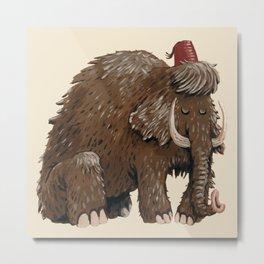Sad mammoth with fez Metal Print