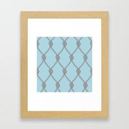 Rope Knots Print- Light Blue Framed Art Print