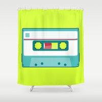 cassette Shower Curtains featuring #54 Cassette by Brownjames Prints