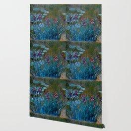 Monet Irises and Water Lilies Wallpaper