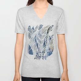 Feathery Design in Blues Unisex V-Neck