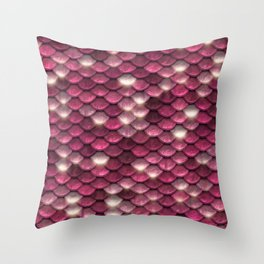 Pink mermaid glitter sparkling scales -  Mermaid Scales Throw Pillow
