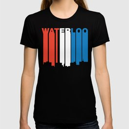 Red White And Blue Waterloo Iowa Skyline T-shirt