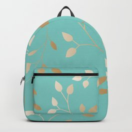 Turquoise with leafs Backpack
