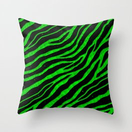 Ripped SpaceTime Stripes - Green Throw Pillow