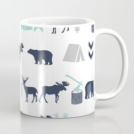 Camper pattern minimal nursery basic grey navy mint white camping cabin chalet decor Coffee Mug