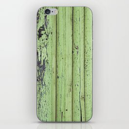 Rustic mint green grunge wood panels iPhone Skin