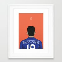 chelsea fc Framed Art Prints featuring Diego Costa Football Back Chelsea FC by Mark McKenny