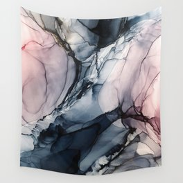 Blush, Navy and Gray Abstract Calm Clouds Wall Tapestry