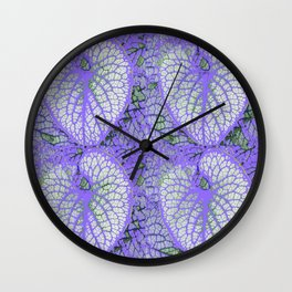 LILAC VEINED TROPICAL LEAVES PATTERN ART Wall Clock