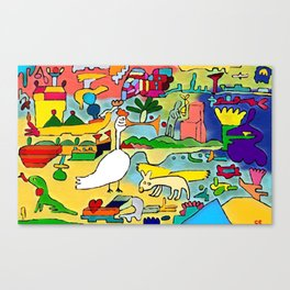 the nice goose and the winged dog Canvas Print