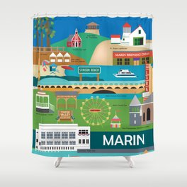 Marin County, California - Collage Illustration by Loose Petals Shower Curtain