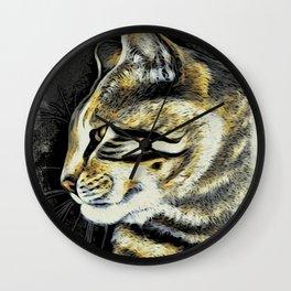 Arnie The Cat Woodblock Style Wall Clock