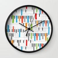 piano Wall Clocks featuring piano by mondebettina