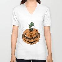 pumpkin V-neck T-shirts featuring Pumpkin by Kape
