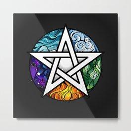 Bright Pentagram on Black Background Metal Print