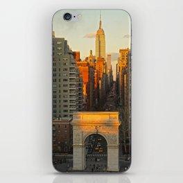 Sunset over Washington Square Park iPhone Skin