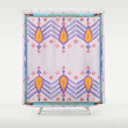 Painted Indian Tribal Pattern Dusky Pink Shower Curtain