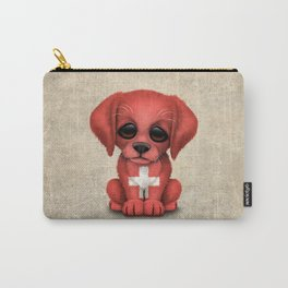 Cute Puppy Dog with flag of Switzerland Carry-All Pouch