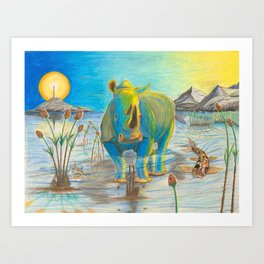 Rhino, Water Boy aka Puddles Art Print