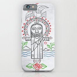 Jesus Christ in indigenous style iPhone Case