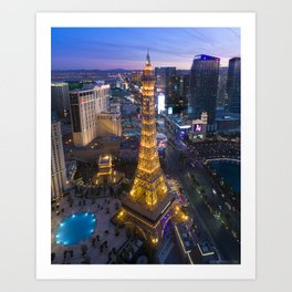 Aerial view of the Eiffel tower in Las Vegas Art Print