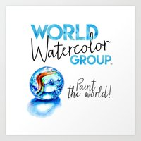 World Watercolor Group™ Badge with World Marble Art Print