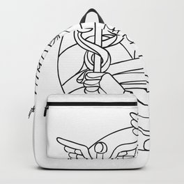 Messenger of the Gods Mosaic Black and White Backpack