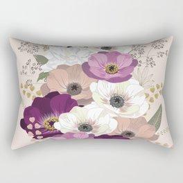 Anemones & Gardenia floral bouquet Rectangular Pillow