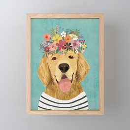 Golden Retriever Dog with Floral Crown Art Print – Funny Decoration Gift – Cute Room Decor – Poster Framed Mini Art Print