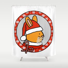 Cute Santa Bunny Portrait Shower Curtain
