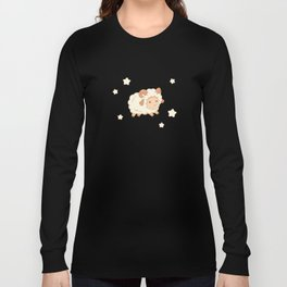 Cute Little Sheep on Blue Long Sleeve T-shirt