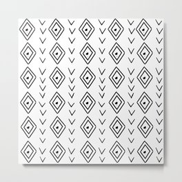 mudcloth 9 minimal textured black and white pattern home decor minimalist beach Metal Print