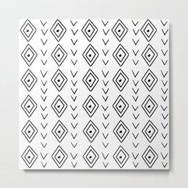 mudcloth 9 minimal textured black and white pattern home decor minimalist beach Metal Print